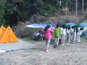 ふくろう班の班サイトテント設営