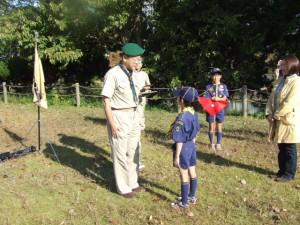 合同隊集会の前に4団の入隊式を行いました。