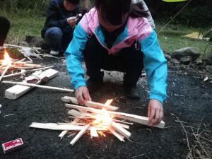 脇山野営場 火おこし